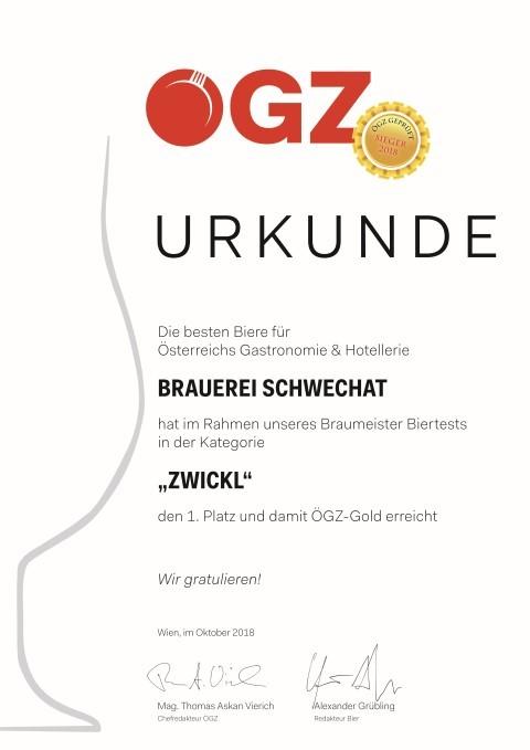 Urkunde Brauerei Schwechat